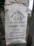 Tombstone of Harriet King d. 1895