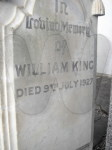 Headstone for William King d. 1927