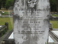 Headstone of Thomas & Sarah Bridge