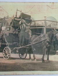 Herbert T Morris on his dray at Cessnock
